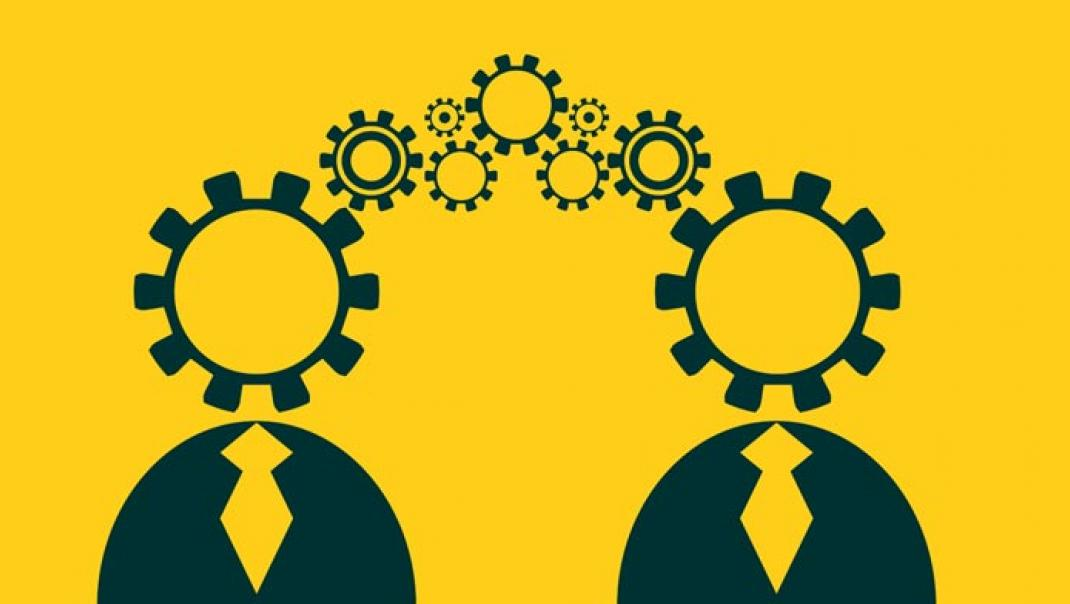 Illustration of two people sharing information